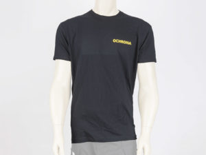 T-shirt czarny z żółtymi napisami