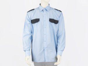Koszula niebieska z czarnymi wstawkami, długi rękaw