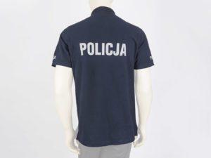 Koszulka polo granatowa z napisami