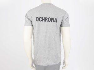 T-shirt szary z napisami OCHRONA