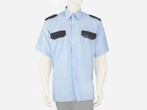 Koszula niebieska z czarnymi wstawkami, krótki rękaw